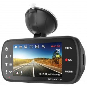 Kenwood DRV-A501W DashCam Wide Quad HD con wireless LAN integrata e GPS